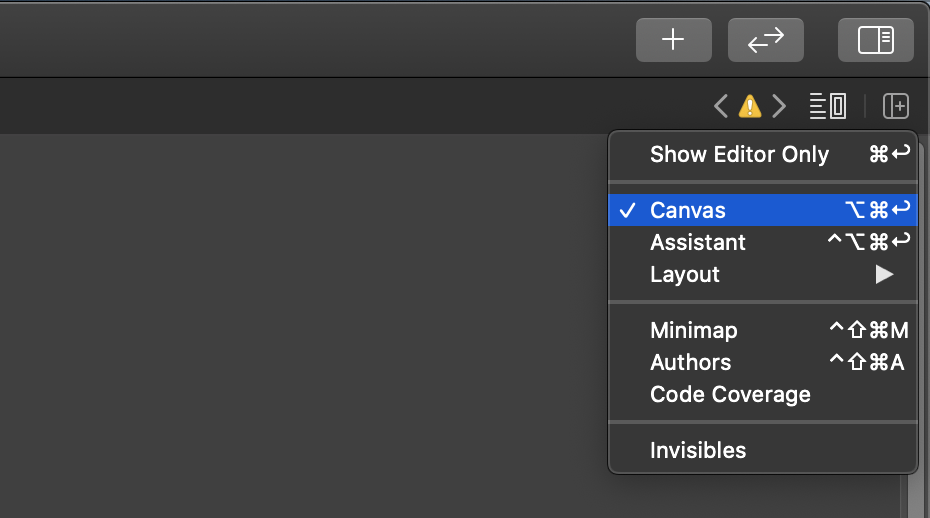 Enabling the canvas view in the upper right of Xcode 12